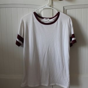 Forever 21 White and Maroon Striped T